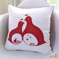 Limited Time Sale Red Print  Mama Dada Quail 16 Inches Square Linen Pillow
