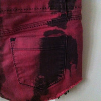 Black and Cranberry Dyed Shorts