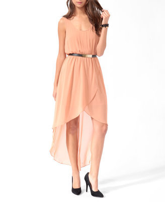pleated high low wrap dress w belt from forever 21