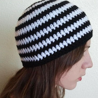 Adult Beanie Hat- Black and White Striped Beanie Cap