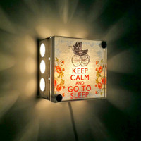 Keep Calm And Go To Sleep Repurposed Light Box Night Light