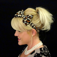 Leopard print silk bow headband for adult/kids