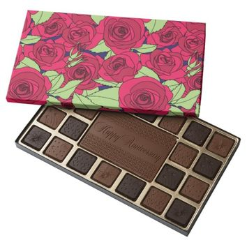Vintage Victorian Red Rose Flower Pattern 45 Piece Assorted Chocolate Box