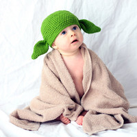 Made to order Crochet Baby Yoda/Goblin Hat 1-3 year old - made with NEW Milk protein cotton yarn