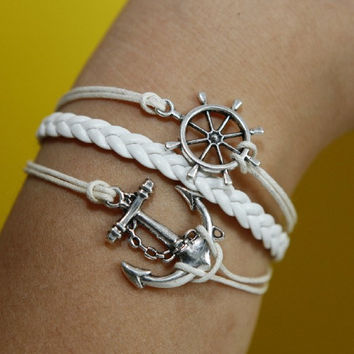 Anchor and rudder Bracelet silver bracelet white wax cords,white braided leather bracelet