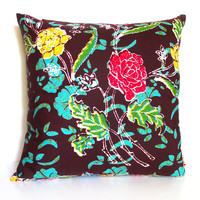 Brown and green Floral Batik Pattern 16 Inches Square Pillow