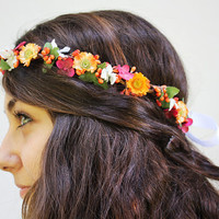 Colorful Flower Crown - Tangerine Daisies with Pink and White Blossom Hippie headband.