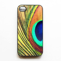 SALE. Iphone Case. &quot;Bohemian 2&quot;. Peacock. feather. gold. green. blue. brown. bronze. abstract. warm. iphone 4 case. 4s case