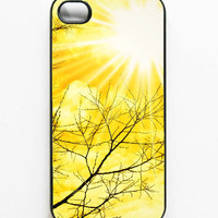 "CLEARANCE. Iphone Case. Yellow. ""Golden Afternoon"". Iphone 4s case. 4s case. Sun. Bright. Tree. Branches. White. Summer. Happy"