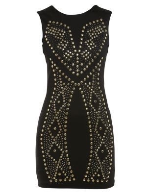 Influence Black Studded Front Dress