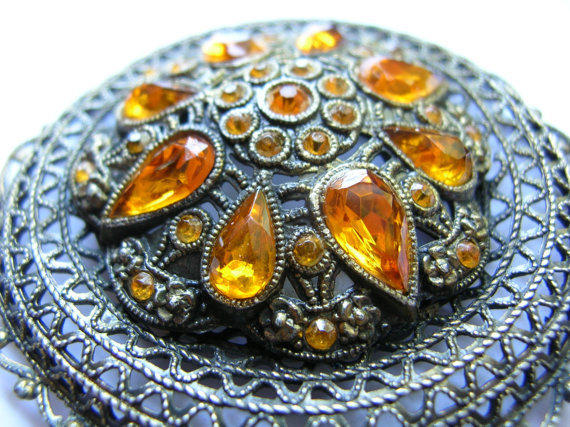 Huge Antique filigree brooch,amber rhinestones, glass ,art nouveau,,patina,,ornate,pot metal,art deco
