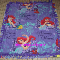 Disney Princess Waves  Little Mermaid Ariel Purple Fleece Baby Girl  Banket Pet Blankie Lap