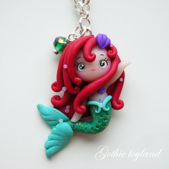 Kawaii Cuties Sweet Ariel Mermaid Pendant Necklace with Polymer Clay