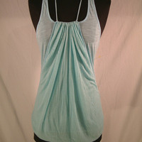 Free People Halter Tie Racer Back Burn out Aqua Blue Tank Top sz Small