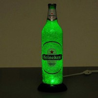 Heineken Bottle Lamp/Light Big 24oz. Intense Sparkle and Glow/ Eco LED~Bodacious Bottles~