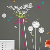 Funky Wall Stickers - Dandelions and Cowparsley