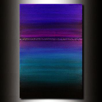 Abstract Horizon Painting:  Jewel Tone Turquoise Blue Magenta 24x36