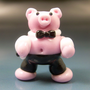 BACON STRIPS Handmade Lampwork Glass Focal Dancing Pig Bead SRA