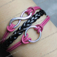 Bracelet-infinity karma bracelet-infinity wish,pink leather, black braided bracelet adjustable