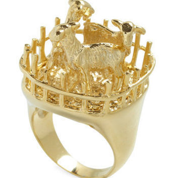 Goat for the Gold Ring | Mod Retro Vintage Rings | ModCloth.com