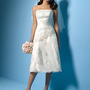 A-line Strapless Applique Knee-length Satin Wedding Dresses For Brides@YSP0097 - Mini Wedding Dresses - Wedding Dresses - Wedding Apparel