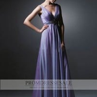 Purple V-neck Floor Length Satin Beads Empire Evening Dress PDSVEWD008_PDSa
