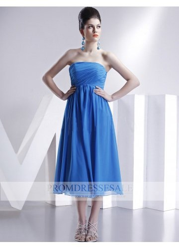 Royal Blue Strapless Tea Length Chiffon Empire Evening Dress PDSVEWD006_PDSa