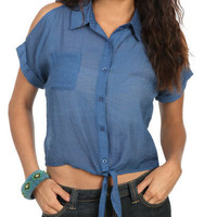 Tie Front Cutout Blouse | Shop Tops at Wet Seal