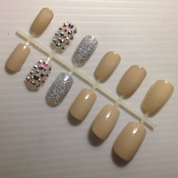 Nude Swarovski Crystal Press Ons