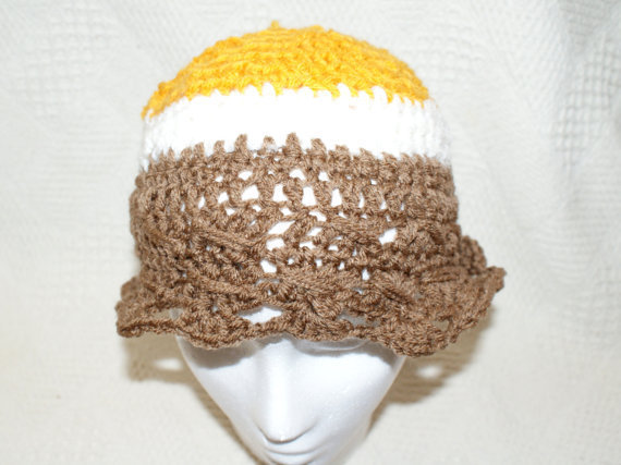 CIJ 15% OFF Girls Crochet Hat, Gold Cloche, Floppy Hat, Brown Bucket Hat, christmasinjuly, christmas in july