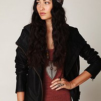 Free People Hooded Vegan Leather Jacket