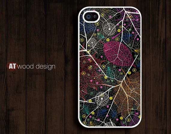 colorized leaves graphic design printing iphone cases iphone 4s case iphone 4 cover