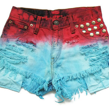 Levi dip dye medium rise shorts XS