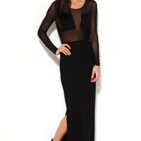 Long Sleeve Mesh and Jersey Maxi Skirt