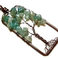 Rectangular Aventurine Tree of Life Pendant in Earth Toned Copper