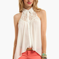 Up High Sleeveless Button Down Shirt