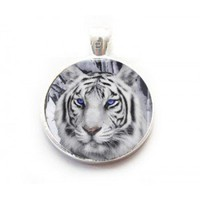 white tiger jewelry, white tiger necklace,white tiger earrings,wolf porcelain necklace,white tiger ring
