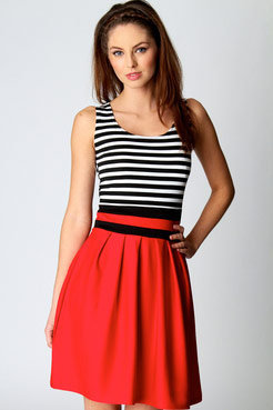Grace Striped Sleeveless Skater Dress