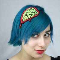 Green Exposed Brains Headband, Green Zombie Brains, Halloween Hairband