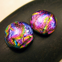 Sparkling Magenta Ripple Dichroic Glass Fused on Black Glass Stud Earrings