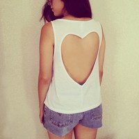 Luna Vintage — Heart Shaped Open Back Top - White