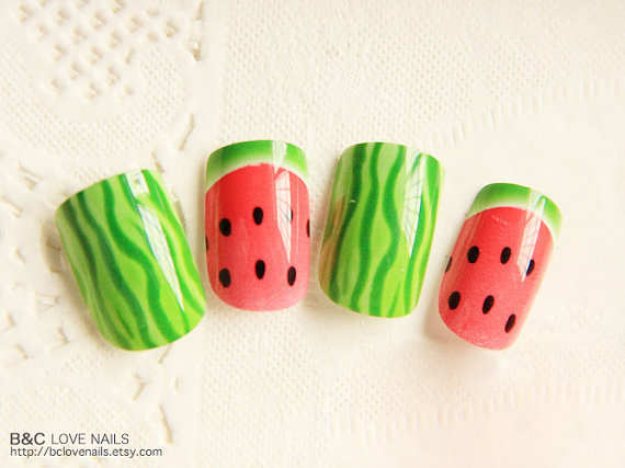 "Ready to Ship Nails - "" Watermelon """