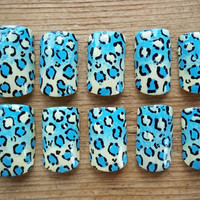 Leopard Print Blue & Yellow Gradient Fake Nails