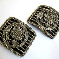 Pair 1920s Shoe Buckles Black with Cut Steel Marcasite Flowers Deco Antique Vintage