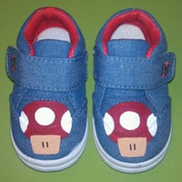 Handpainted Mario Mushroom Velcro Toddler Shoes Size 3
