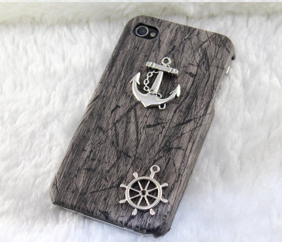 Vintage silver anchor & rudder,PU leather Black Hard Case Cover--for Apple iPhone 4 Case, iPhone 4s Case, iPhone 4 Hard Case