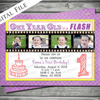 One Year in a Flash Birthday Invitation