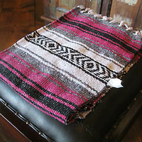 "Half Size Mexican Falsa Blanket Light Weight 1.3 Pounds Dark Pink Stripe 24""x72"""