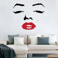 Marilyn Monroe Face with Red Lips Decal Vinyl Art Sticker / Decal
