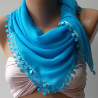 Blue Shawl with Lace - Turkish Shawl - Anatolians Scarf - Yemeni